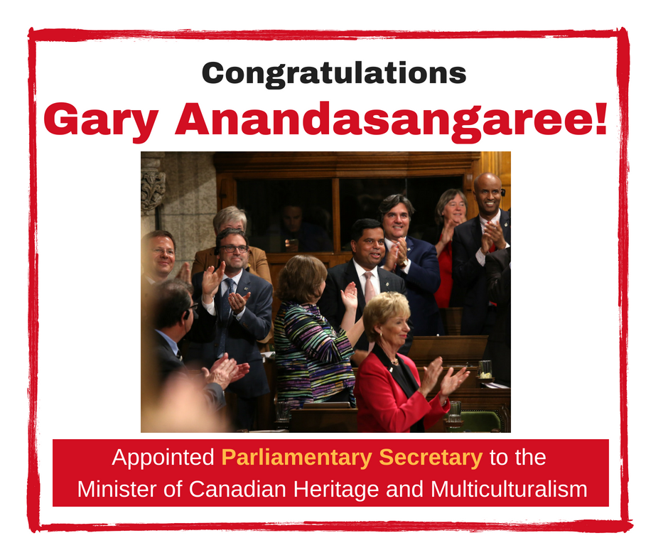 Gary Anandasangaree appointed as Parliamentary Secretary to the Minister of Canadian Heritage and Multiculturalism